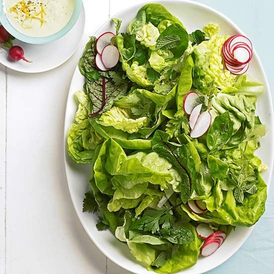 Herb Salad with Creamy Lemon Dressing