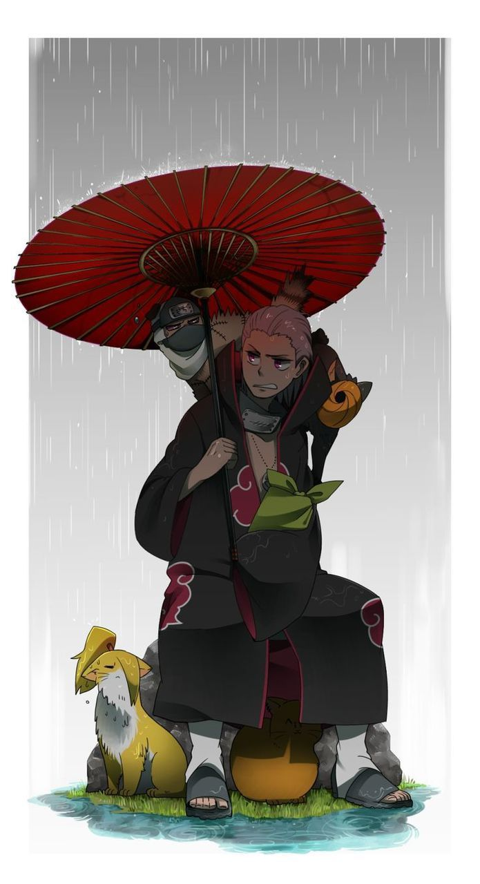 :) deidara gets all wet. And what kind of animal is kakuzu ...