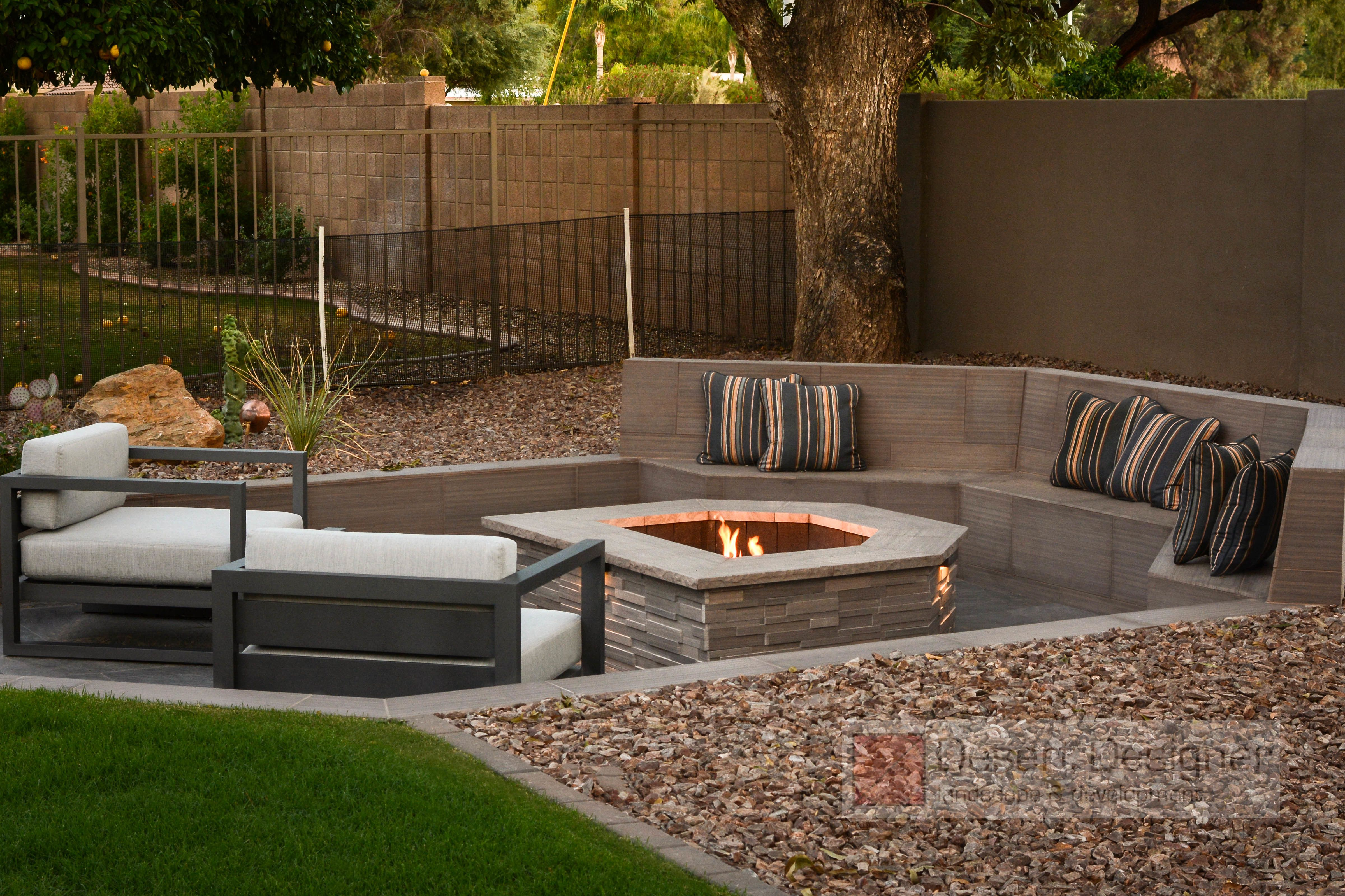 Sunken Modern Fire Pit with Seating   Fire pit backyard ...
