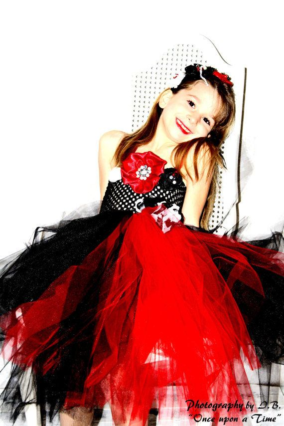 Spaghetti Black and Red Organza Flower Girl Dress | Girls dresses ...