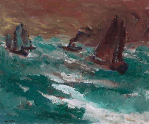blastedheath: Emil Nolde (German, 1867-1956), Bewegte See I (Zwei Segler und ein kleiner Dampfer), 1914. Oil on canvas, 73 x 88 cm.