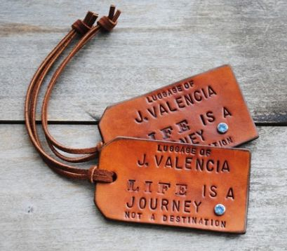 leather luggage tags ~ love !