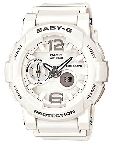 G Shock Womens Bga180 Glide With Tide Graph Baby G Series Designer Watch White One Size Casio Womens Watches Baby G White Watch