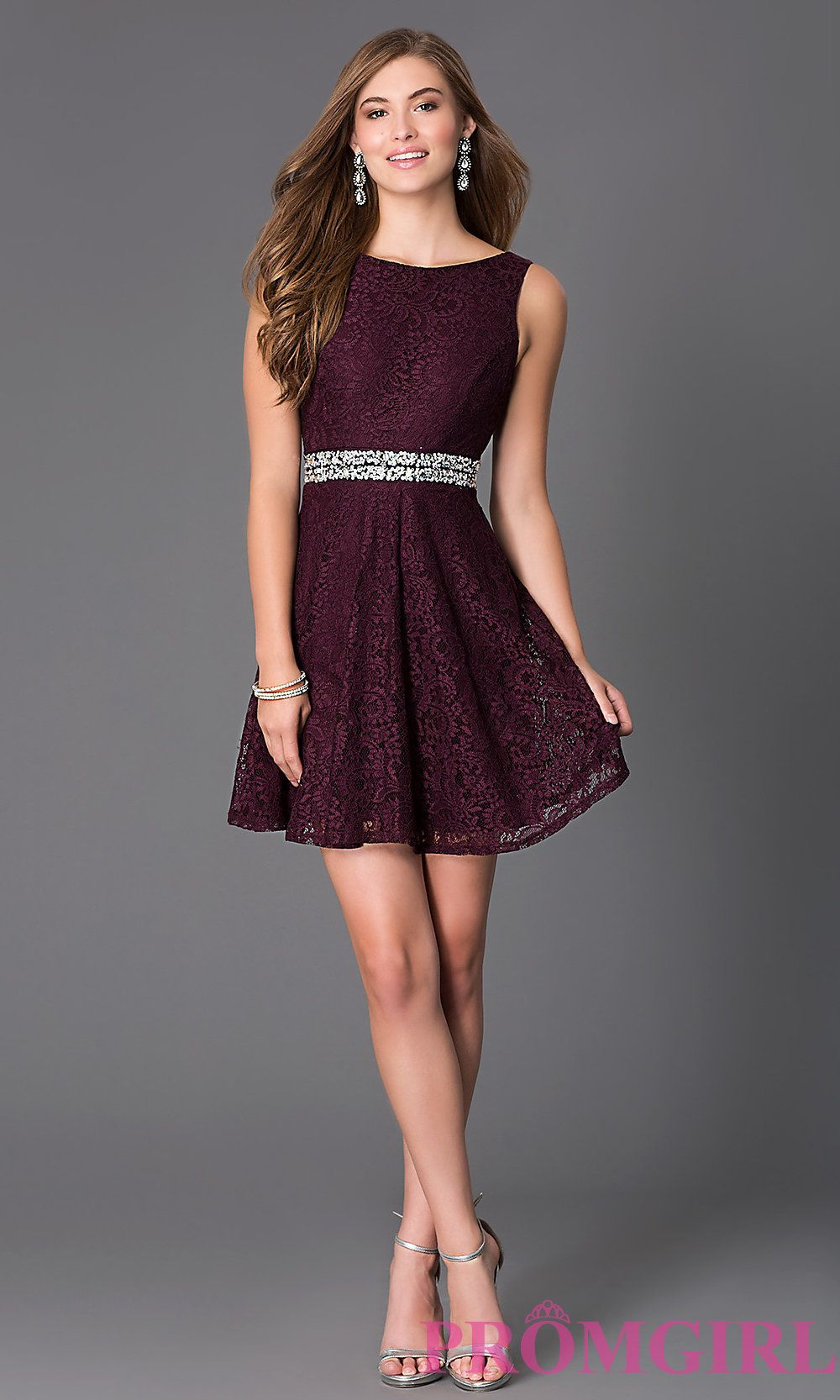 Short Burgundy Red Lace Homecoming Dress with Cut-Out Waist at ...