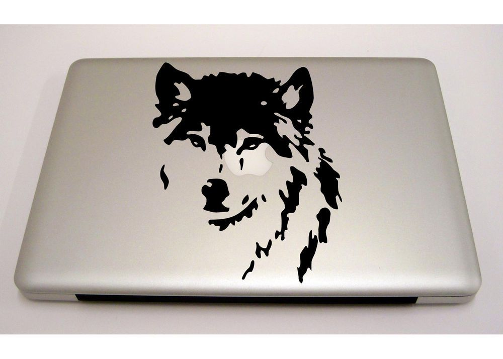 Macbook Ipad Laptop Vinyl Sticker Decal Custom Size Cute Wolf - Custom vinyl decals macbook