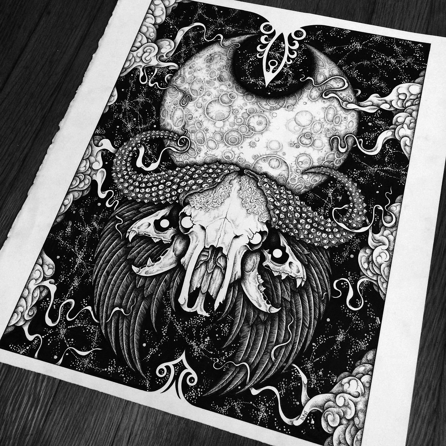 "This is the original drawing of ""Beastial II""Pen and Ink on 140lb Arches HP Watercolour PaperPaper size: 14x17""Image size: 12x16"""