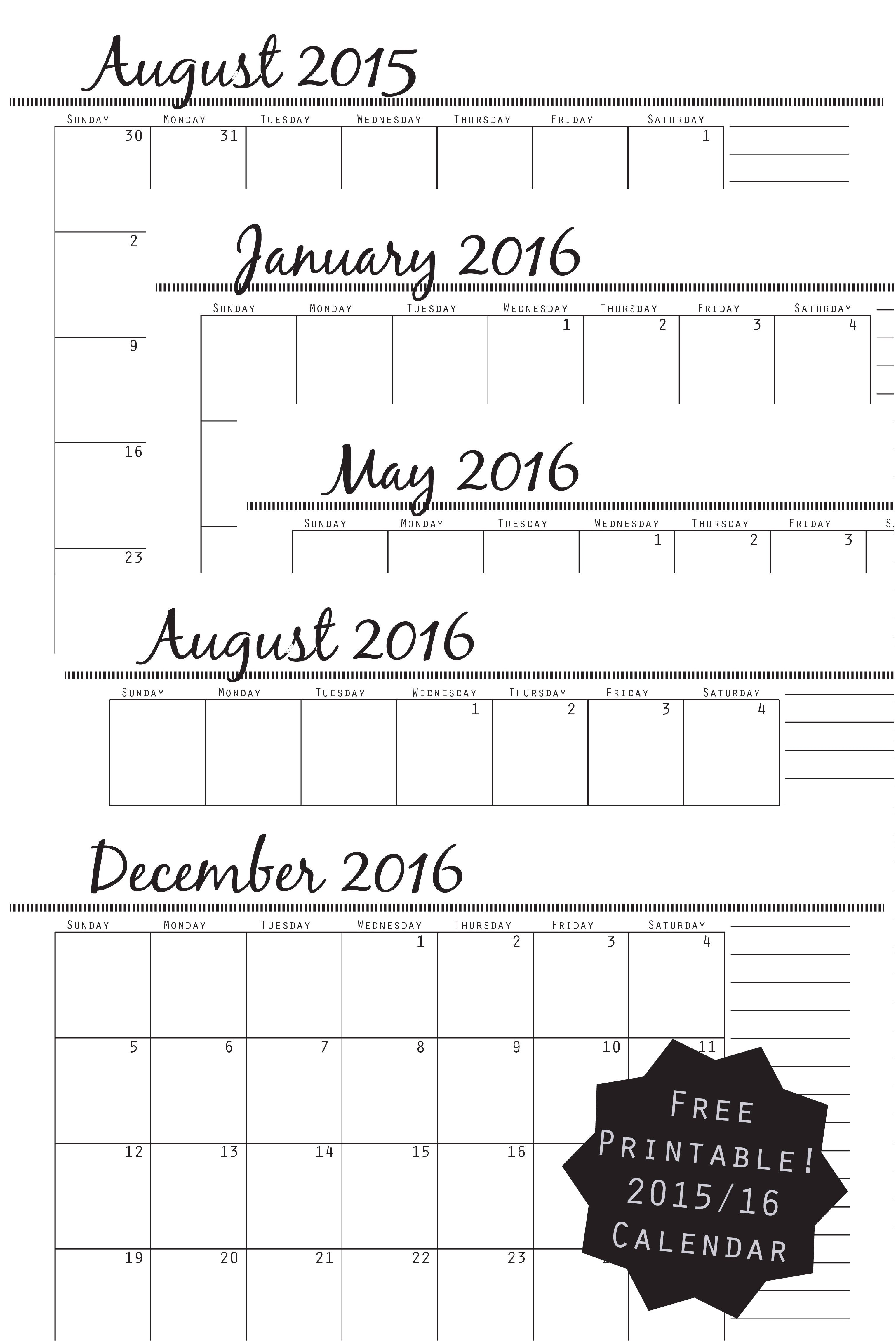 Free 2015 2016 Printable Calendar With Images Printable