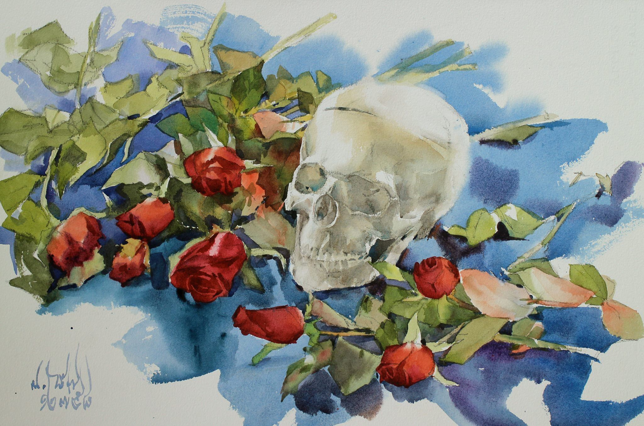 Watana Kreetong Roses and Skull /2015 38x56cm