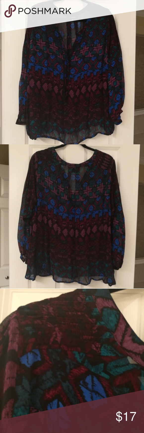 EUC Lucky sheer blouse sz 3x This blouse is beautiful but more sheer than I prefer. It is black with blue, burgundy, and teal abstract designs on it. It has a pretty ribbed stitching at the shoulders and an elasticized hem. This item has only been worn once and comes from a pet and smoke-free home. Lucky Brand Tops Blouses