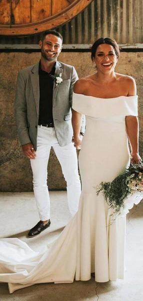 Chic Off Shoulder Sheath Wedding Dresses With Trailing, Wedding Dresses, VB02461