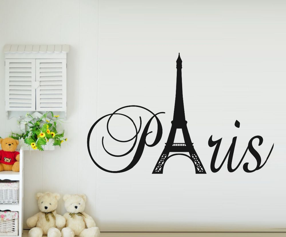 Shop popular paris eiffel tower home decoration from china new france paris eiffel tower wall sticker vinyl decal mural home room decor amipublicfo Images