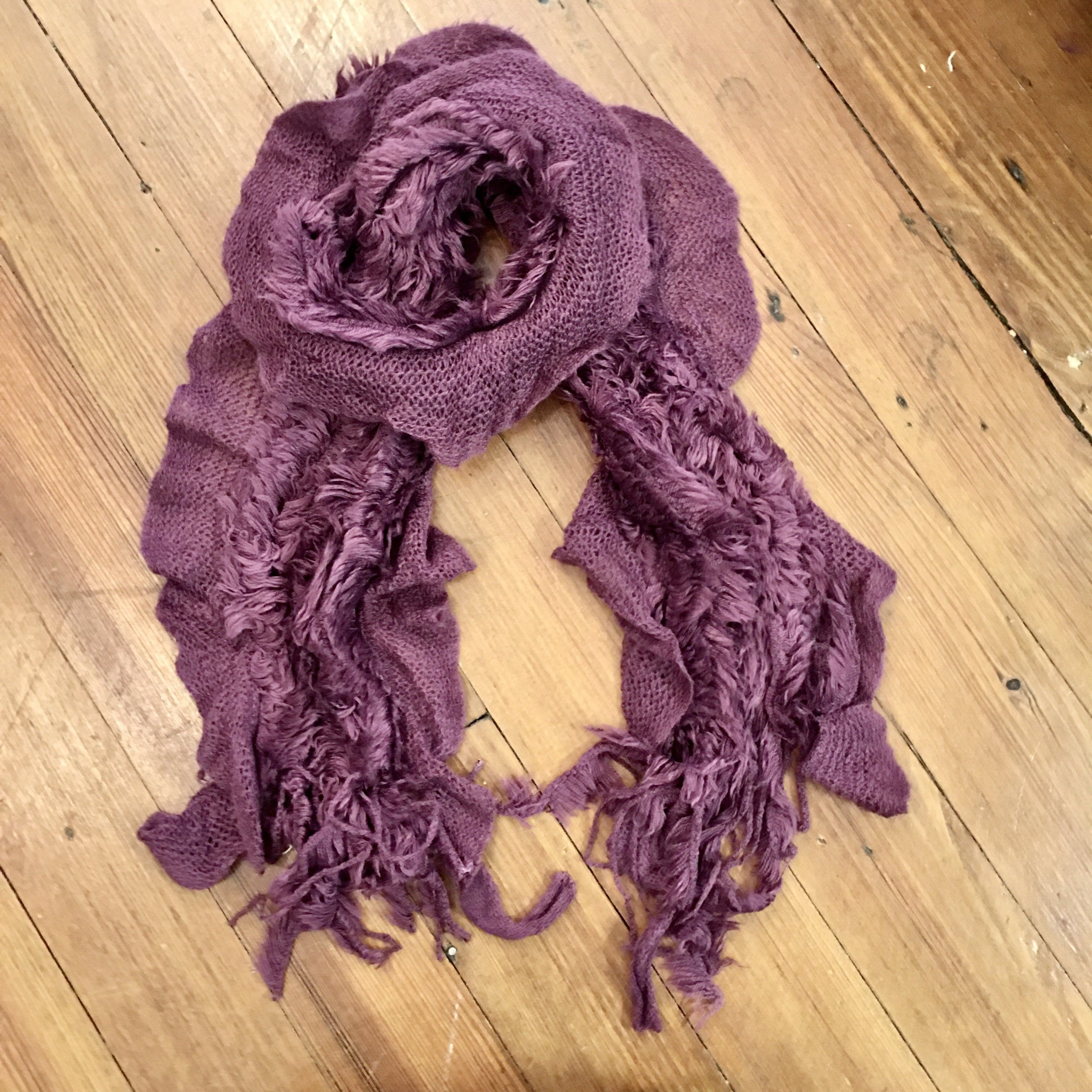 Photo of Faux Fur Knitted Scarf in Purple