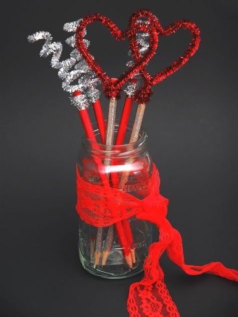 Valentines Day Pencils Hearts Pencils Crafts Crafty