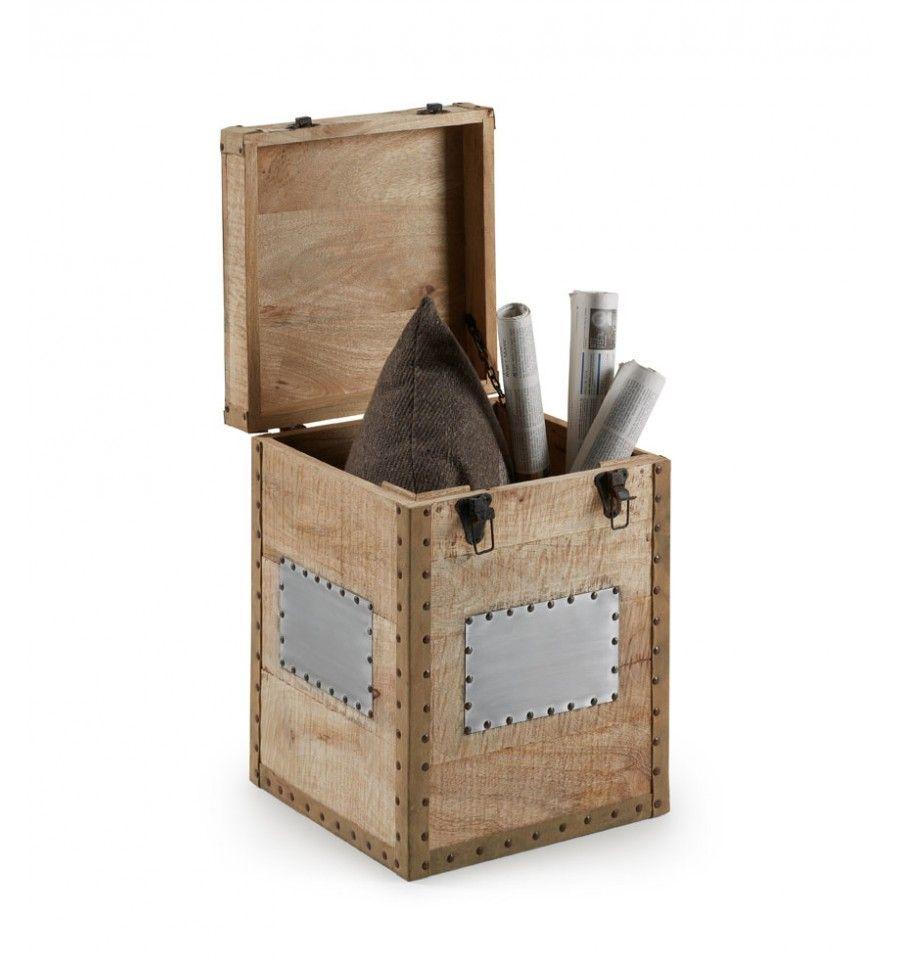 Puf caja almacenaje estilo industrial madera