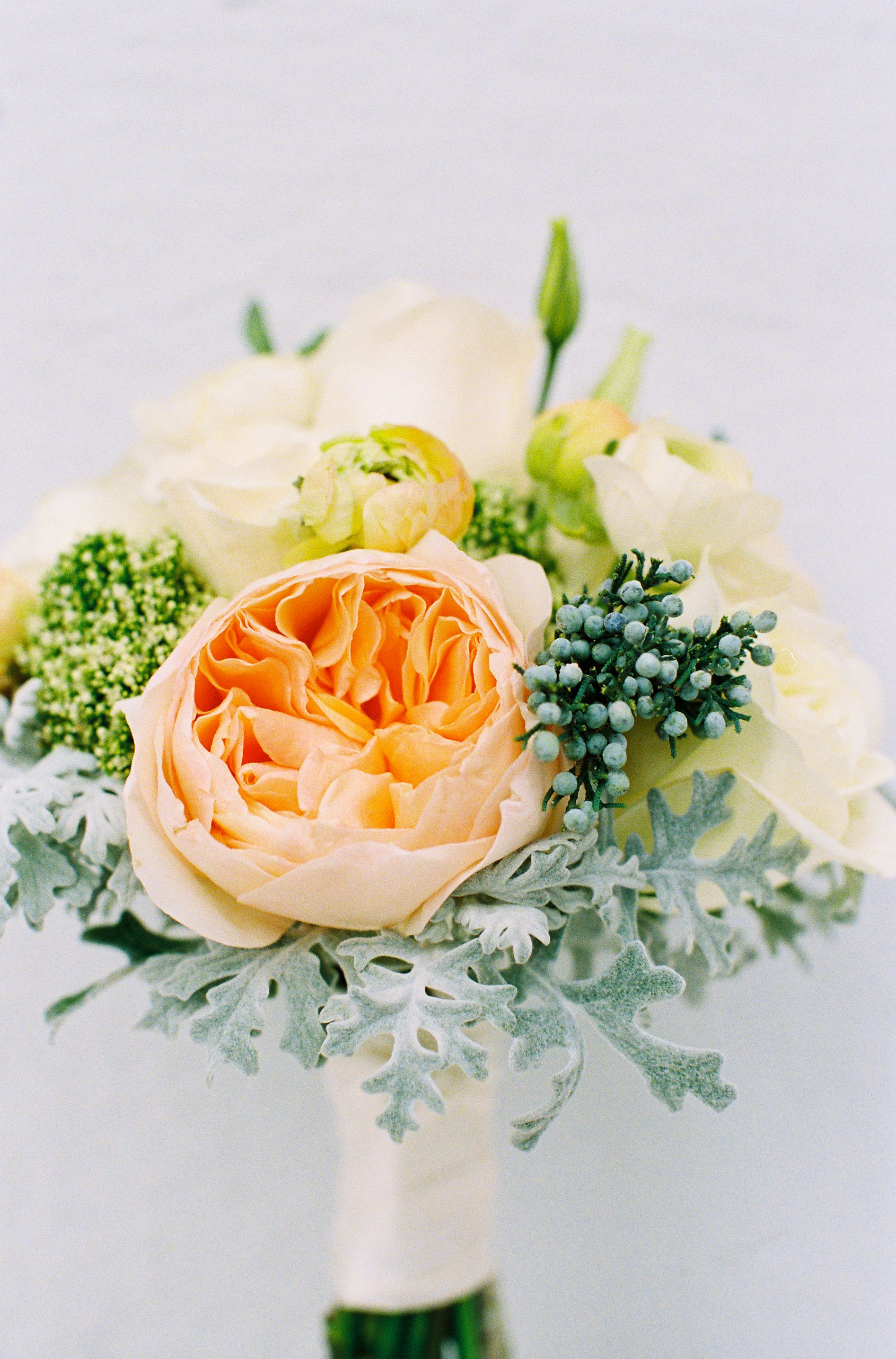 bridesmaid's orange and gray bouquet|calder clark designs|tec petaja|hibernian hall