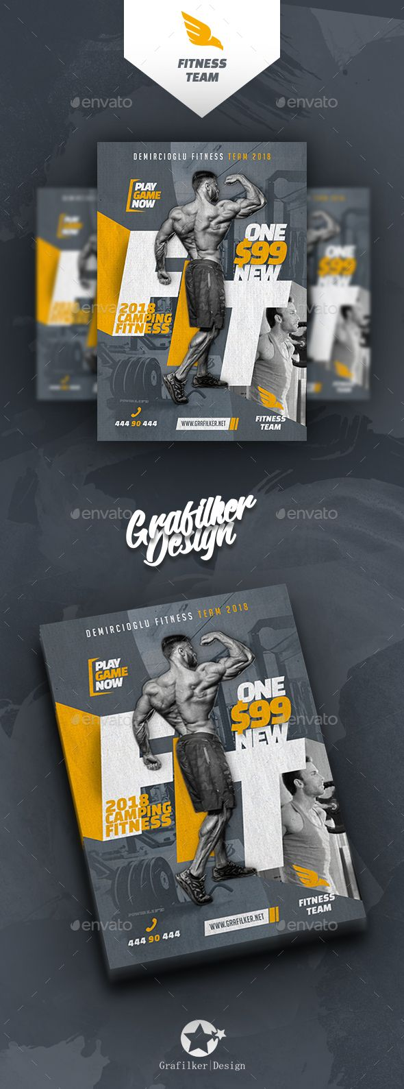 Fitness Time Flyer Template PSD, InDesign INDD | Graphics Assignment ...