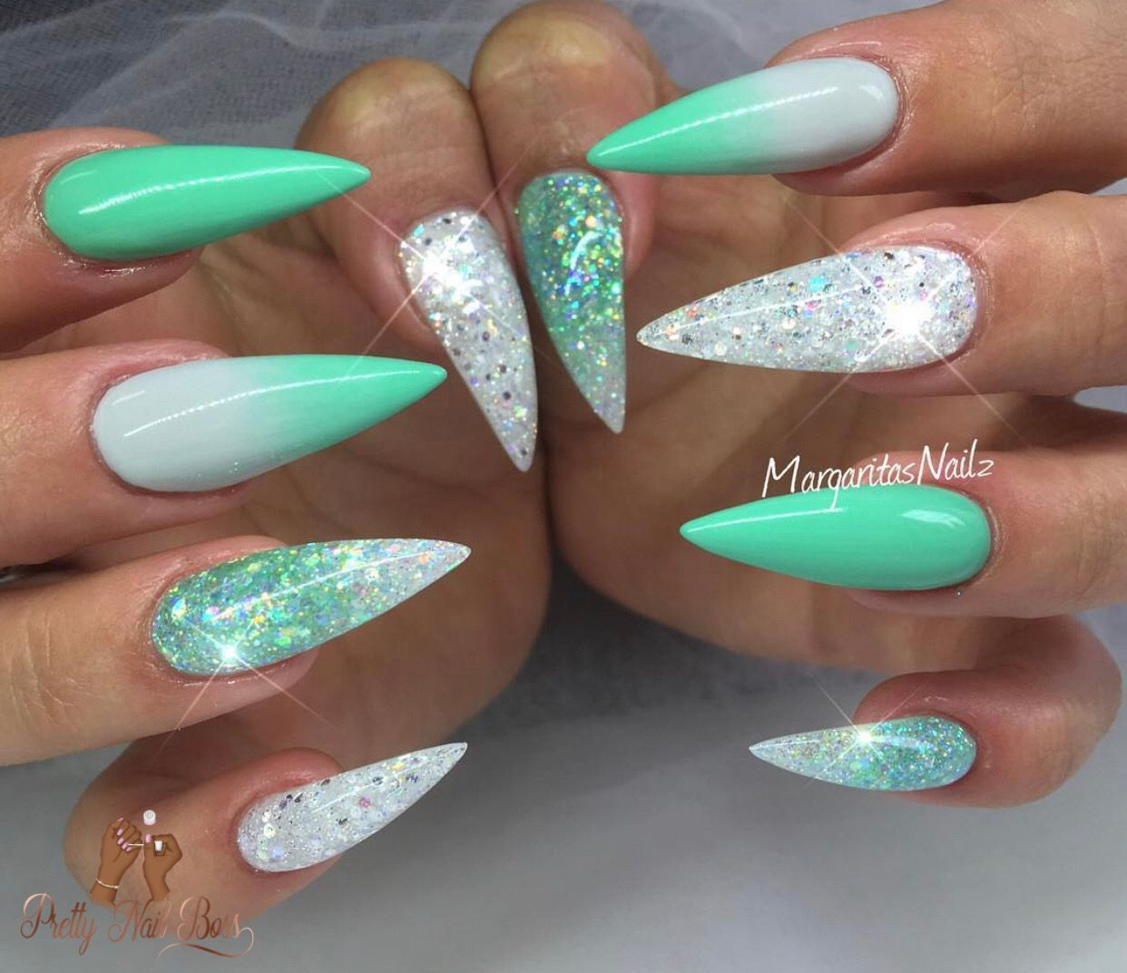 Nails Mint Green Acrylic Nails Glitter Nails Stiletto Nails In 2020 Summer Stiletto Nails Teal Nails Nail Designs
