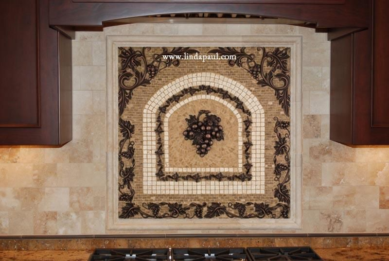 Metal Grape Mosaic Mural Backsplash Medallion X  Kitchen