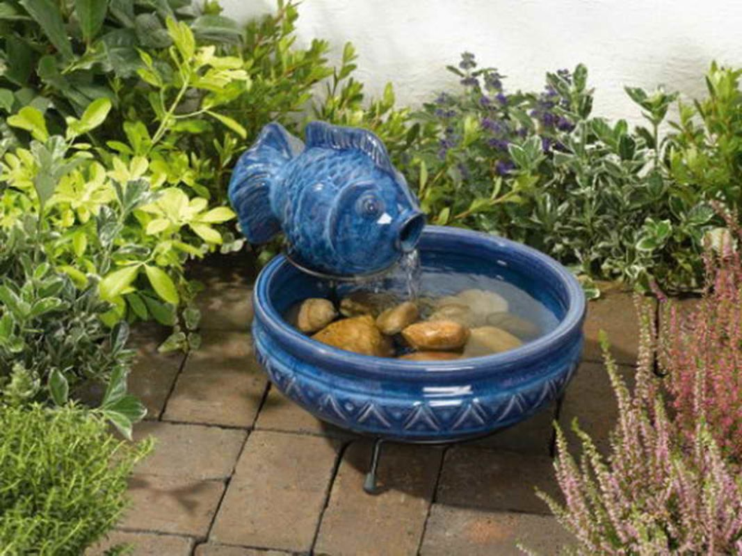 Bon Solar Powered Water Fountain For Small Garden With Fish Statue
