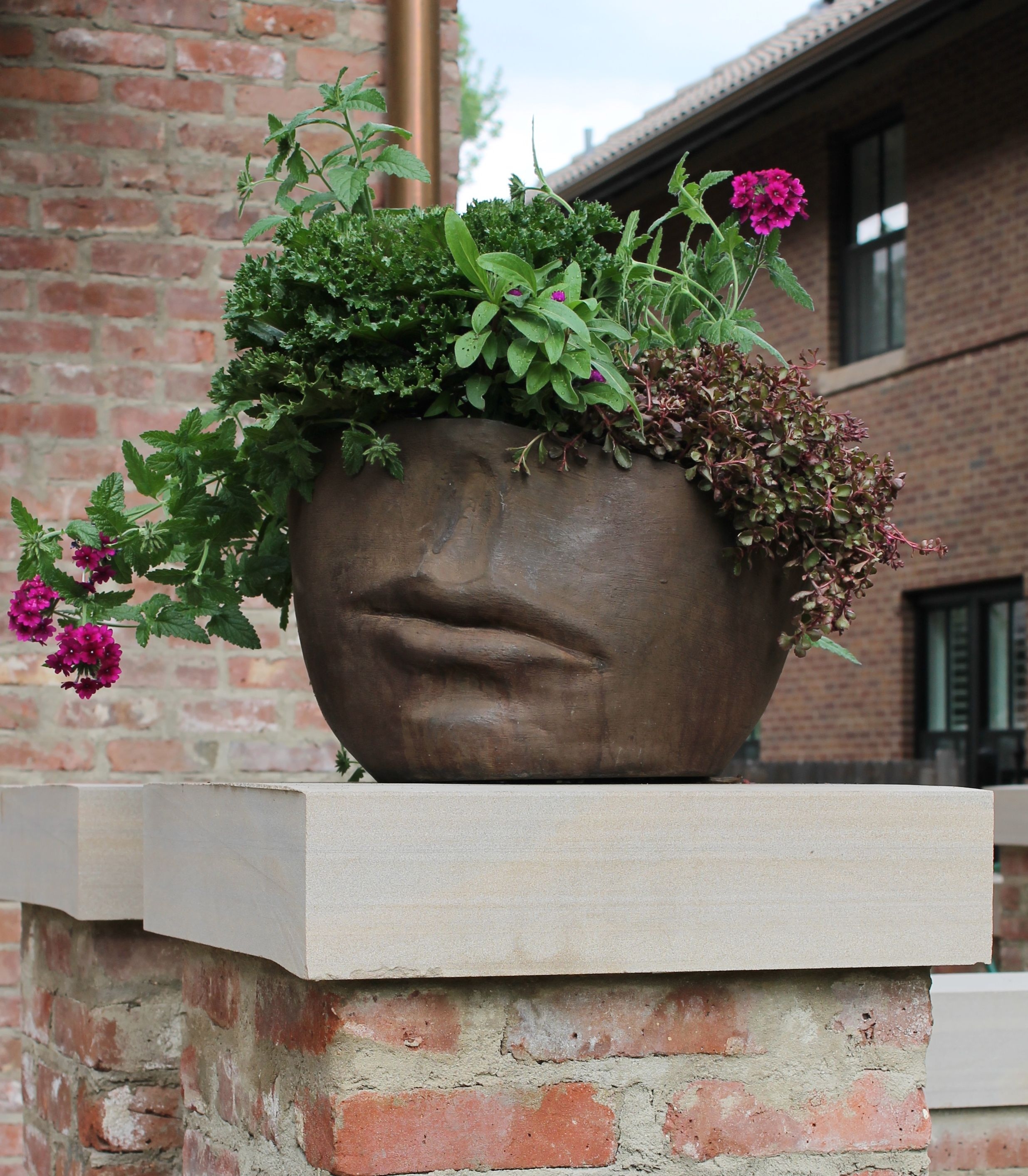 Garden wall art faces  Our fav Campania face pot by Denver Dirty Girls facepots  Head