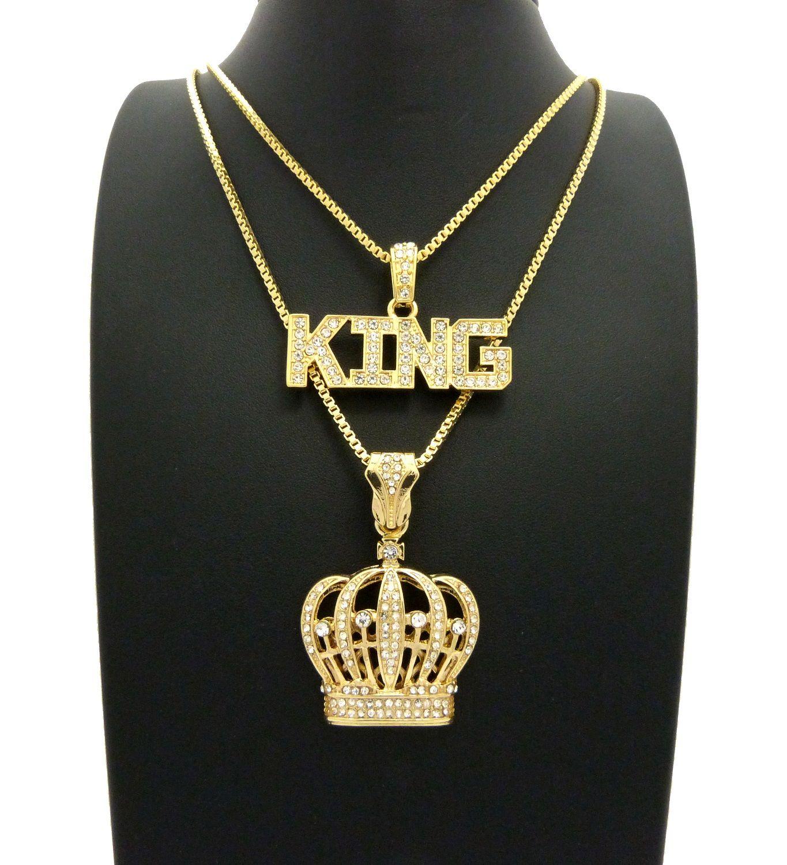 Iced out king u crown pendant u box chains hip hop necklaces set