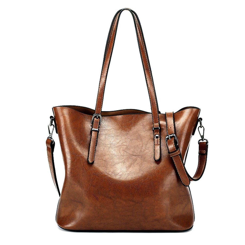 73d401ba7ee Zicac Women's Vintage Large Synthetic Leather Shoulder Handbag Tote ...