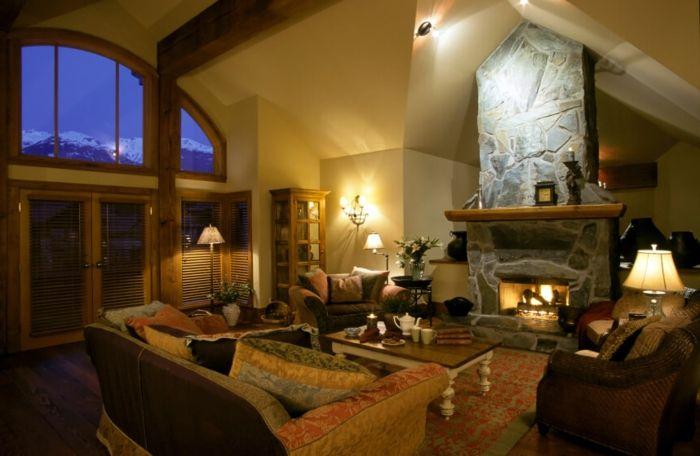 chimeneas rusticas, espacio en estilo rústico, bonita ventana - chimeneas interiores