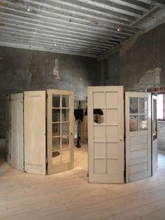 diy honeysuckle chandeliers   Room devider old doors. Louise Bourgeois