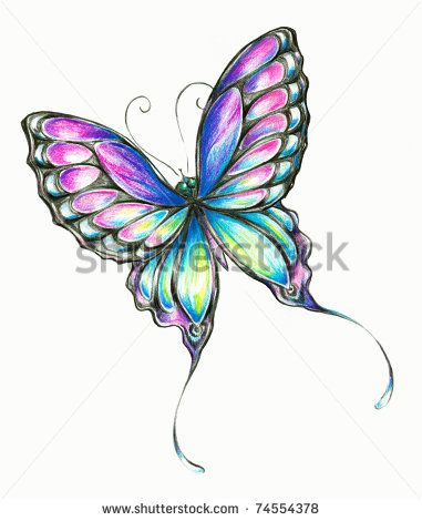 Colored Pencil Drawings Of Flowers With Butterfly Clipart ...
