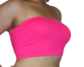 b36ace1496c 2 pcs Tube Top Strapless Bras Plus Size Seamless Bandeau Neon Pink Free  Shipping
