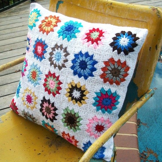 Granny Square Crocheted Pillow With Four Button Closure Crochet