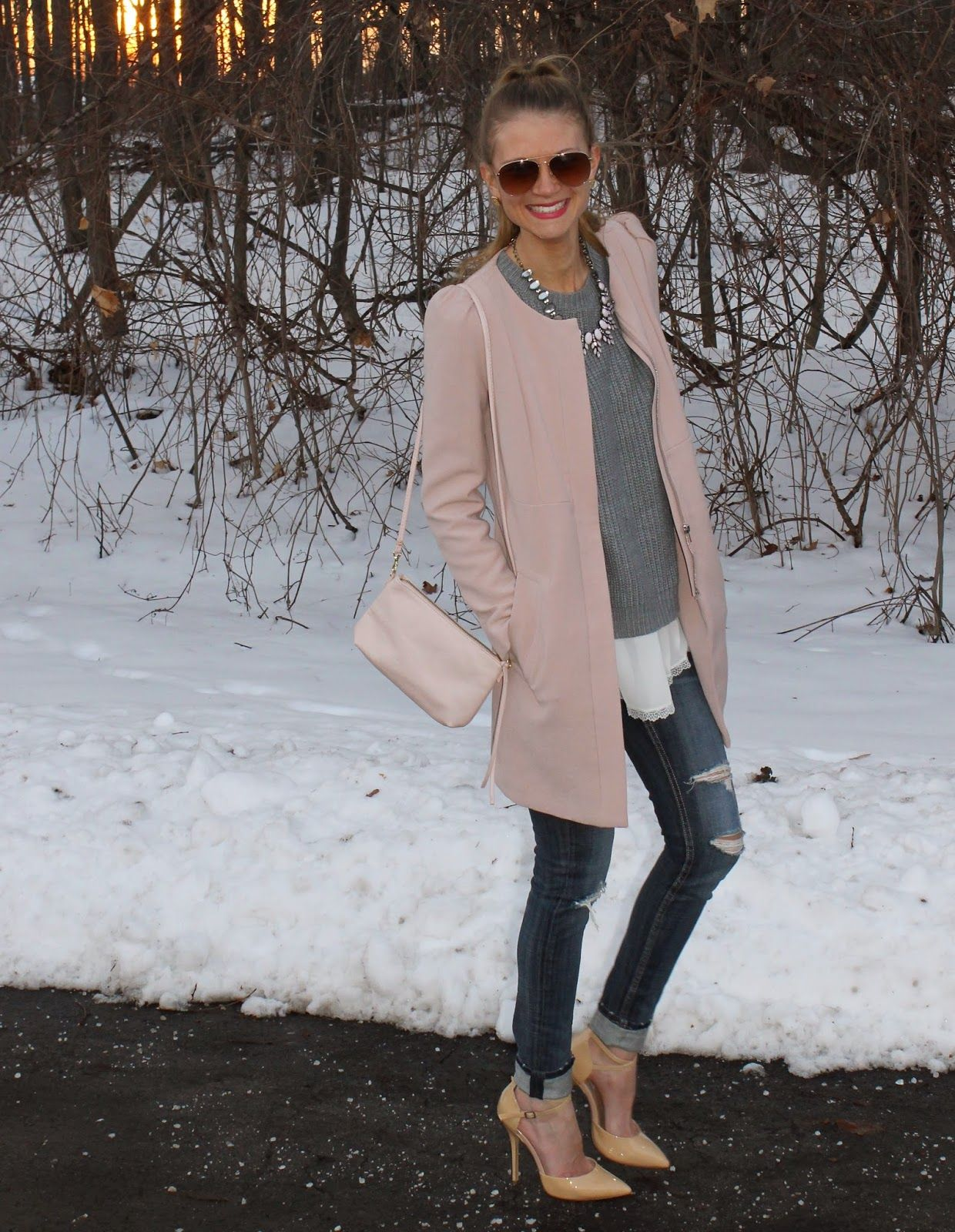 Sweets and Style Just Right: winter neutrals/ blush pink