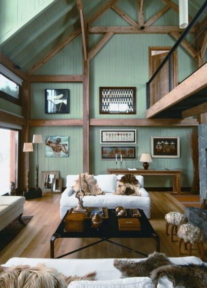 Einrichten In Der Farbe Seladon   Traumhaftes Wohnzimmer Mit Holzfachwerk  Und Schöner Wandfarbe. Das Ist Doch Mal Ein Gemütliches Wohnzimmer Mit  Warmer ...