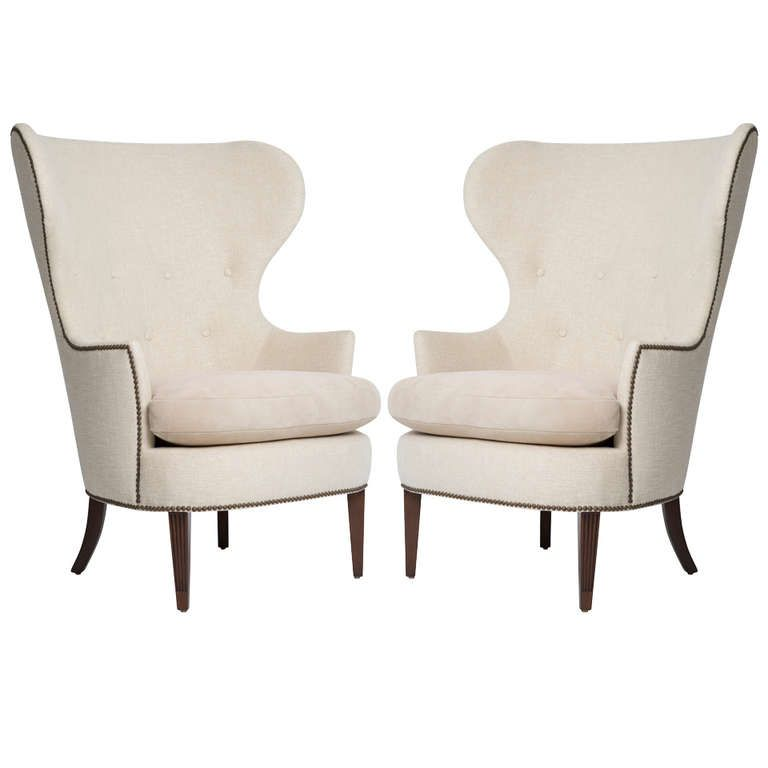 In the style of Edward Wormley for Dunbar Pair of Early Wing Chairs, 1930s is part of Wing chair - View this item and discover similar  for sale at 1stdibs  Edward WormleyIn the style of wing chair, pair DunbarIn the style of USA, 1930s mahogany, upholstery, suede, brass 36 w x 36 d x 44h inches Pair of attributed