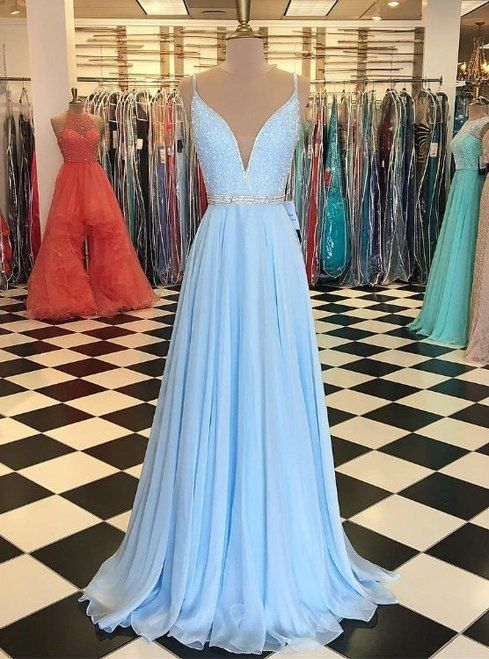 Blue Spaghetti Straps Chiffon Backless Beading Prom Dress