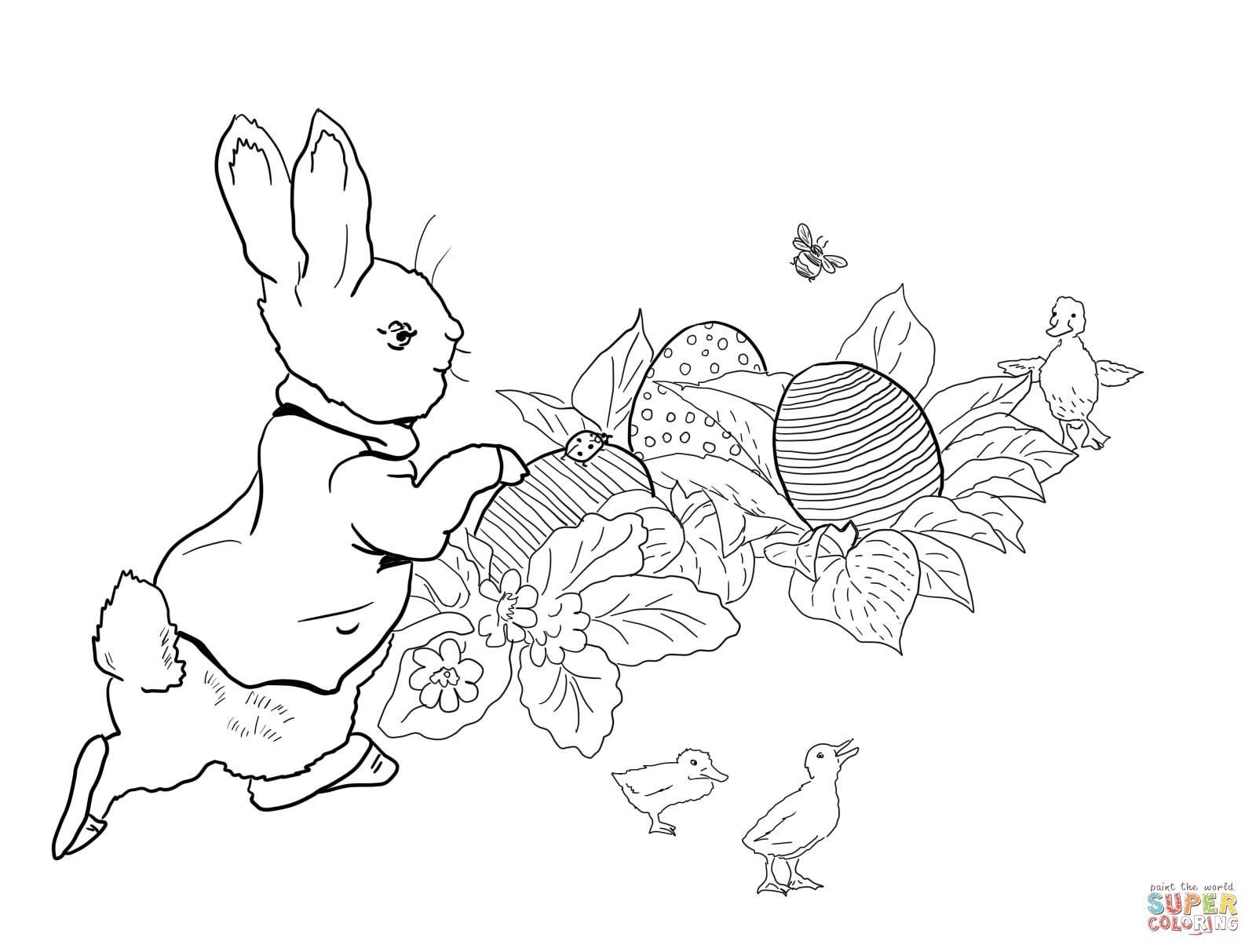 Peter Rabbit Easter Egg Hunt Coloring Page Peter Rabbit Illustration Easter Coloring Pages Rabbit Colors