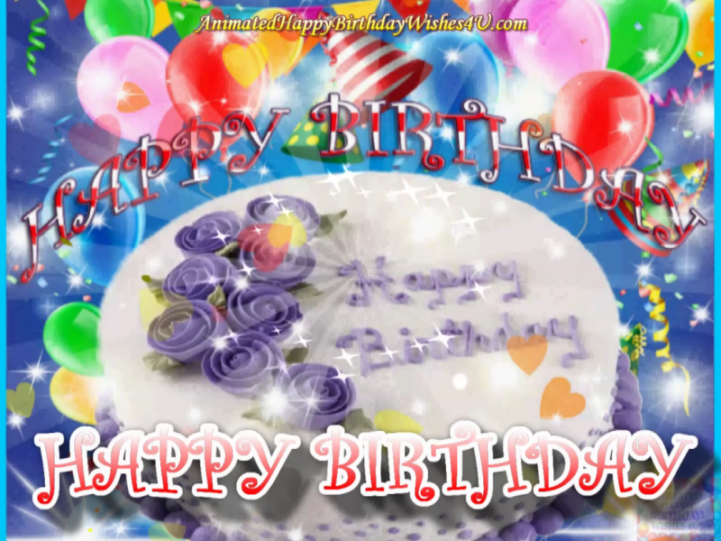 Purple Flower Hbday Cake Wishes In 2020 Happy Birthday Video