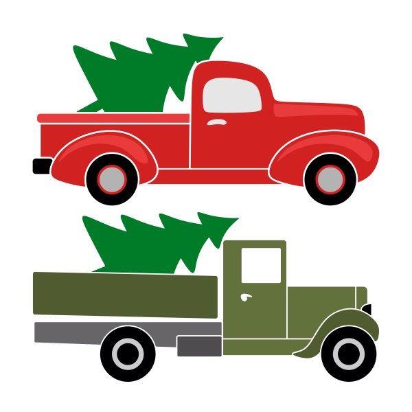 Retro Pickup Truck Christmas Tree Cuttable Designs Svg Dxf Eps Silhouette Studio Cricut Vector Art Christmas Tree Truck Christmas Stencils Christmas Truck