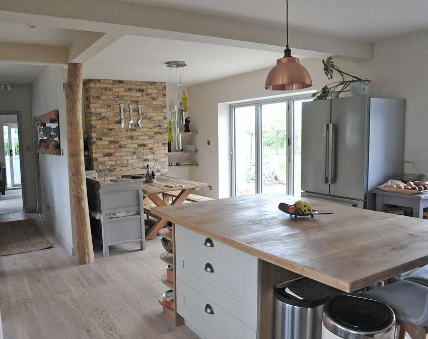 Swenglish Kitchen Diner Using Reclaimed Oak Copper Lighting