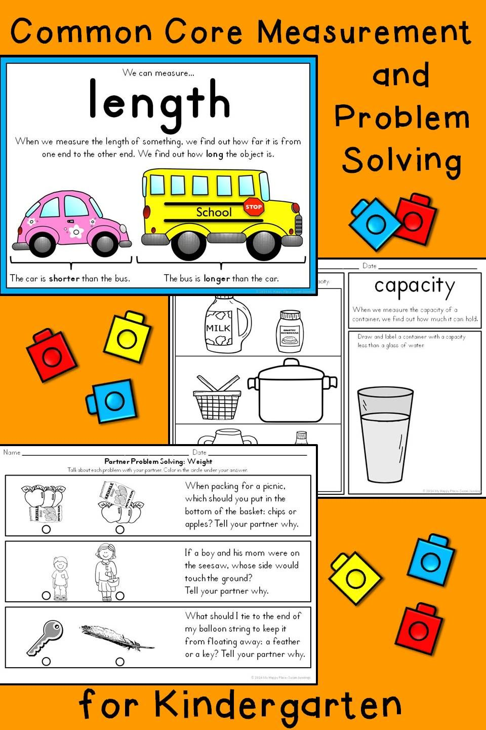 Measurement activities kindergarten math anchor charts and worksheets lets measure kindergarten math for the common core classroom capacity length weight robcynllc Images