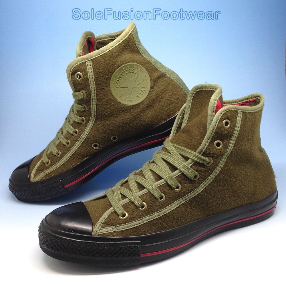 a054c61de Converse Mens All Star Army Trainers Green Black sz 8 VTG Sneakers US 10 EU  41.5
