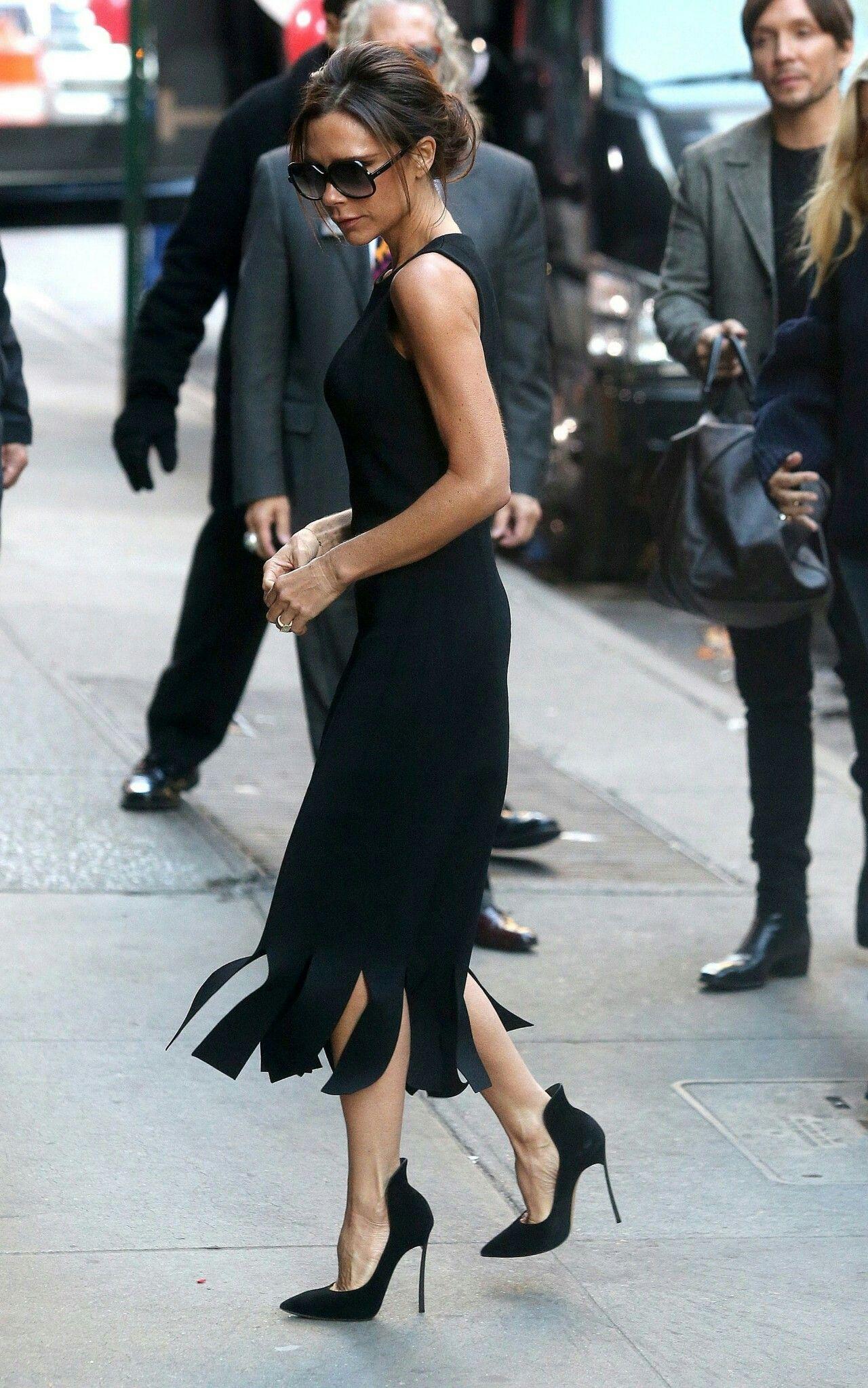Black Dress Fringe Black Heels Victoria Fashion Victoria Beckham Style Victoria Beckham [ 2047 x 1280 Pixel ]