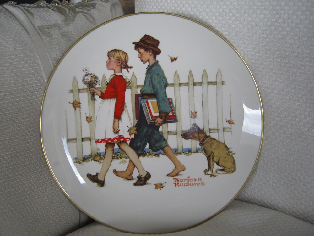"Norman Rockwell Fall A Scholarly Pace 10 1/2"" D Plate Gorham 1972, Season Series"