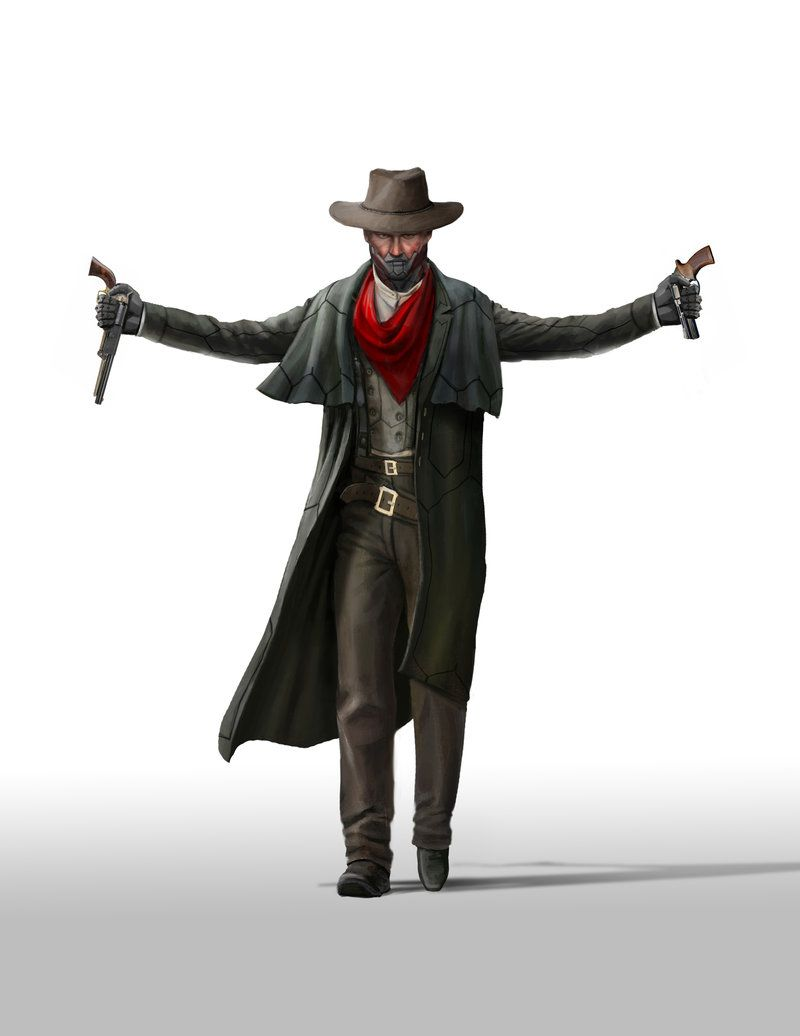 """NOTE TO SELF - , what makes a """"gunslinger"""" or is a symbol of one (culturally), is the use of a red scarf, so If I could use that somehow, but in another way, that could be nice"""