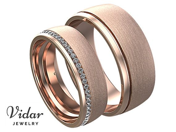 Sein und ihrs Diamant Ehering Set, einzigartige passende Eheringe, einzigartige Rose Gold Ring Paar, passenden Ehering Set Rose Gold Ring #weddingrings