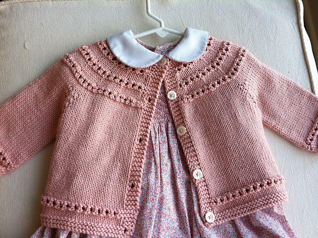 7dd2d1ba7 Eyelet Yoke Baby Cardigan pattern by Carole Barenys