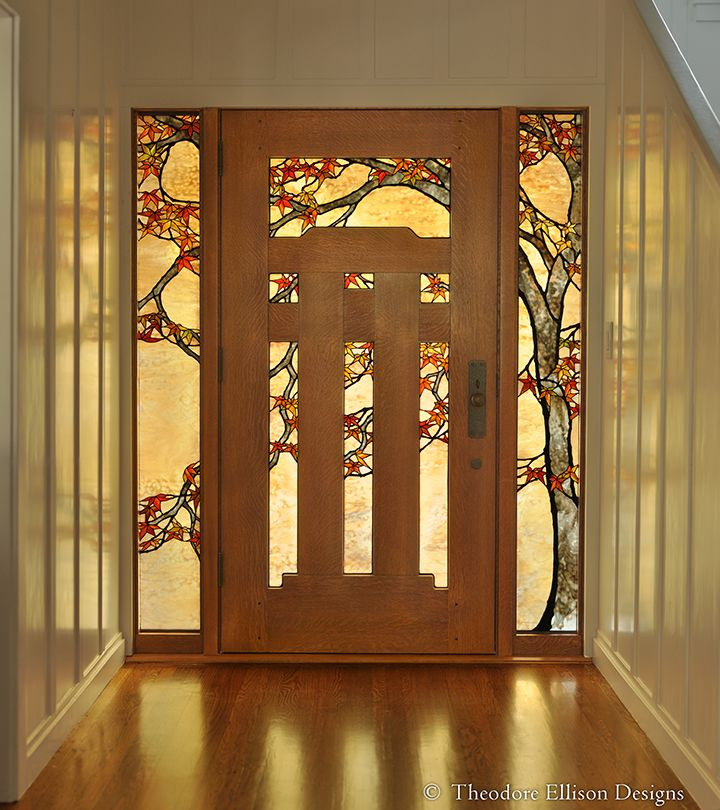 Japanese Maple Stained Glass Entry Theodore Ellison Designs Craftsman Door Stained Glass Door Leaded Glass
