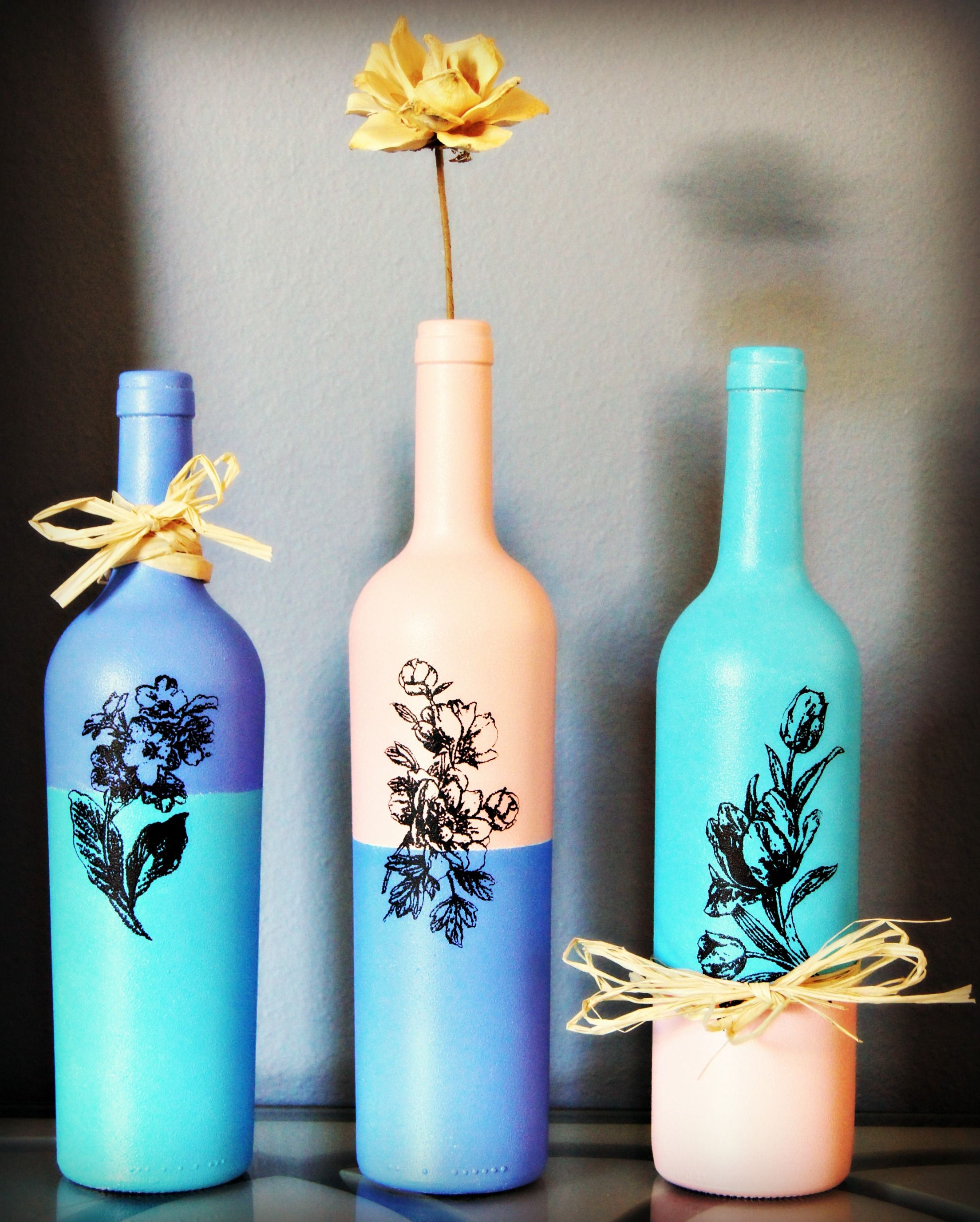 Acrylic Painted Wine Bottles For Your Home Décor.
