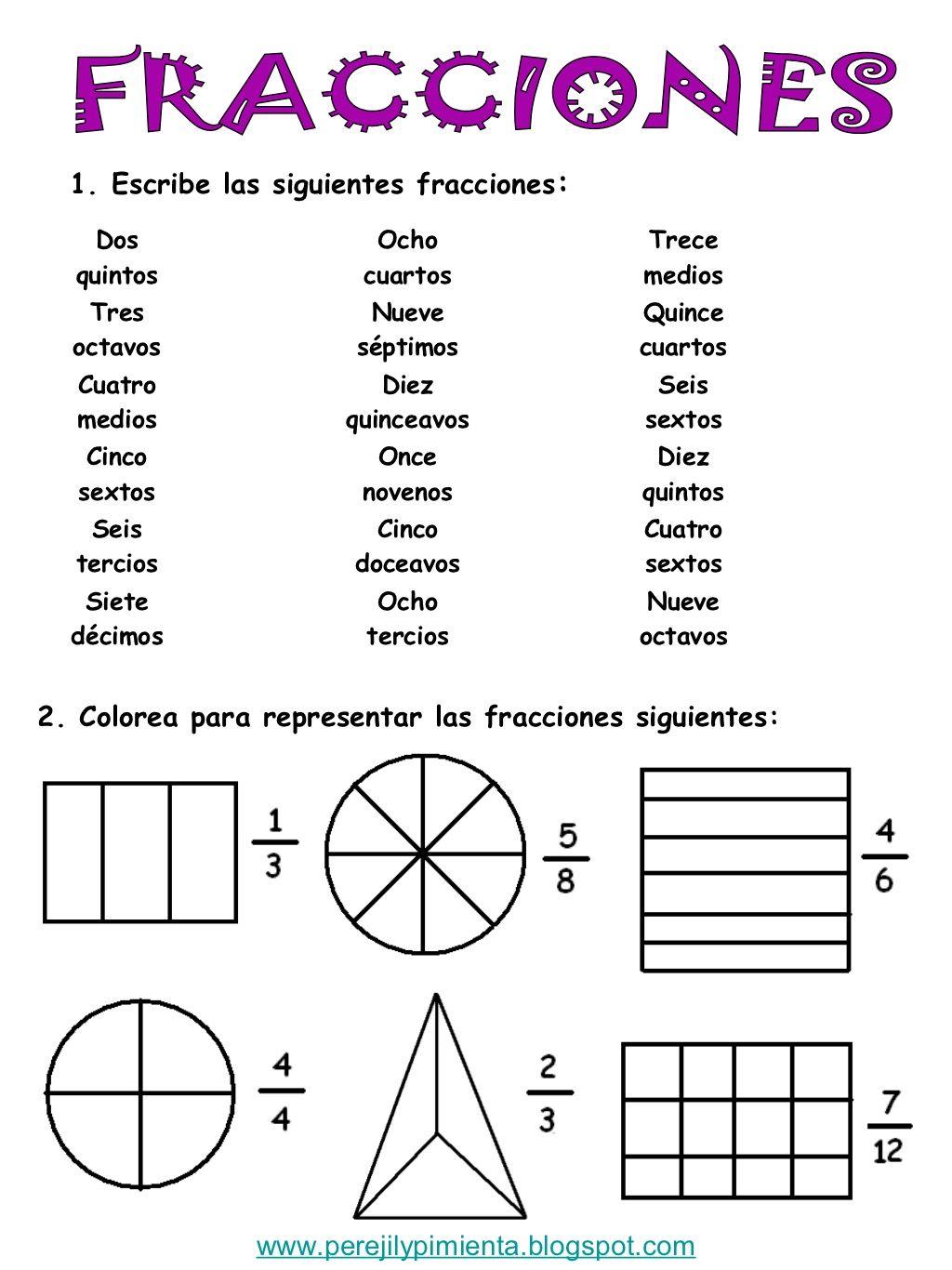 1 escribe las siguientes fracciones dos ocho trece for Cuarto grado de primaria