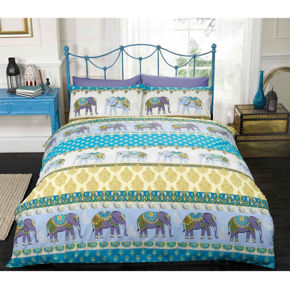 Indian Elephant Duvet Cover Set With Paisley Motifs In Purple Blue Yellow